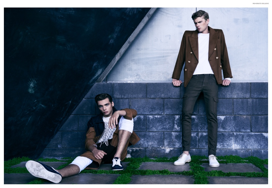 "Fashionisto Exclusive:   Frederik Tolke +     Sam Gostnell in ""Arena"" shot by Zach Fernandez & styled by Matthew Hensley   (DENIM COMBO JACKET, LACE FRONT CHAP SHORTS, CHEVRON THERMALS, THERMAL SHIRT)"
