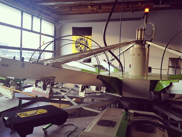 Late Friday afternoon printing at @ecoprintlab under the #CrewSC flag. #Columbus #ShortNorth #Work