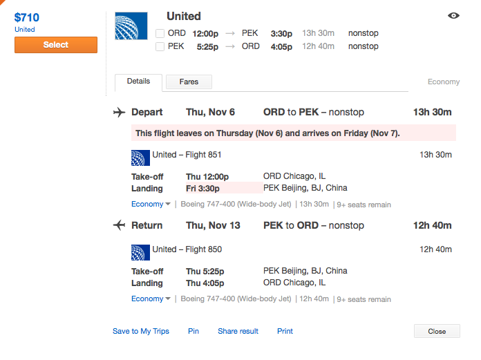 $710 roundtrip from Chicago to Beijing