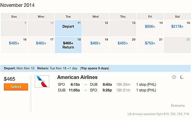 San Francisco to Dublin, Ireland. Only $465 roundtrip!