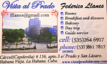 Contact information for Vista al Prado, Casa in Havana Cuba