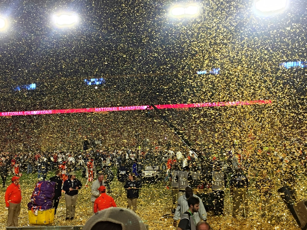 An overwhelming amount of confetti consumes the field, as Alabama upsets Clemson and wins the Championship