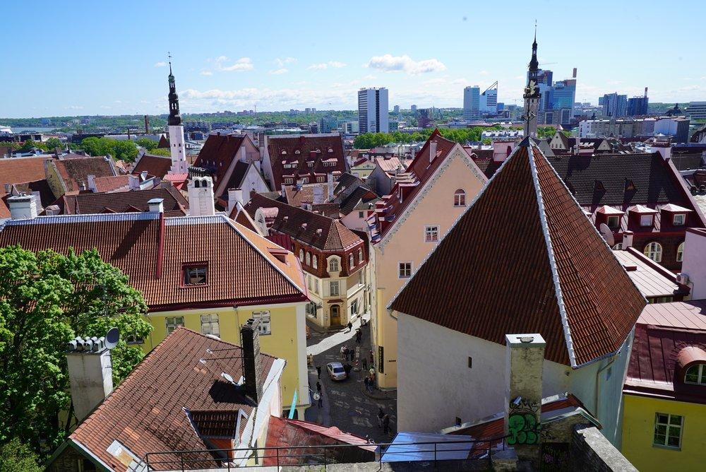 tallinn estonia rooftops aerial