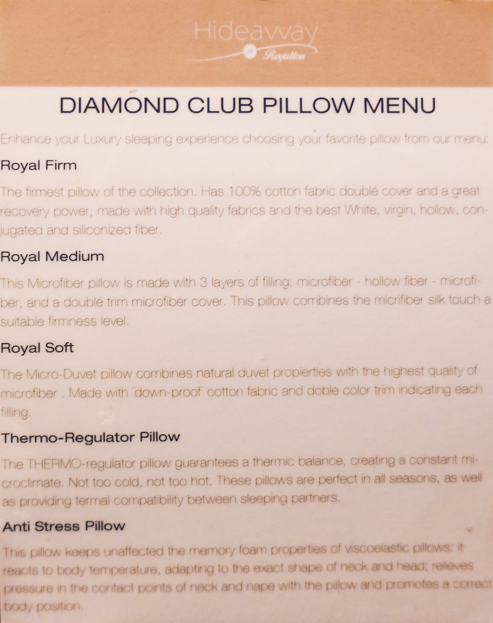 pillow menu royalton riviera maya cancun mexico
