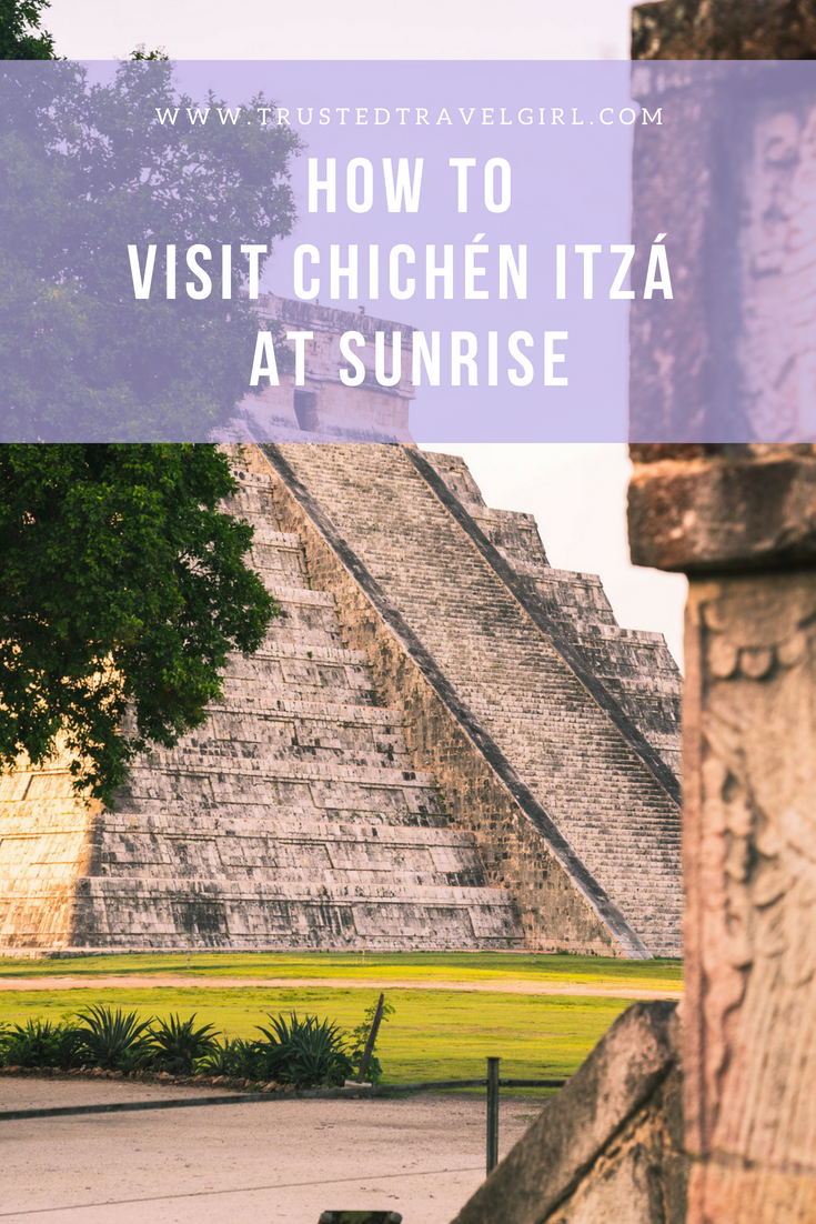 If visiting Mayan Ruins is on your bucket list, you have to check out this awesome Mayan ruins hack. We will tell you all about how you can visit Chichén Itzá At Sunrise, a secret most people don't even know about! Come check out how to see the Mayan ruins with no people there. Make sure you save this Mexico Mayan ruins guide to your Mexico board so you can find it later. #mexico #mayanruins #chichenitza