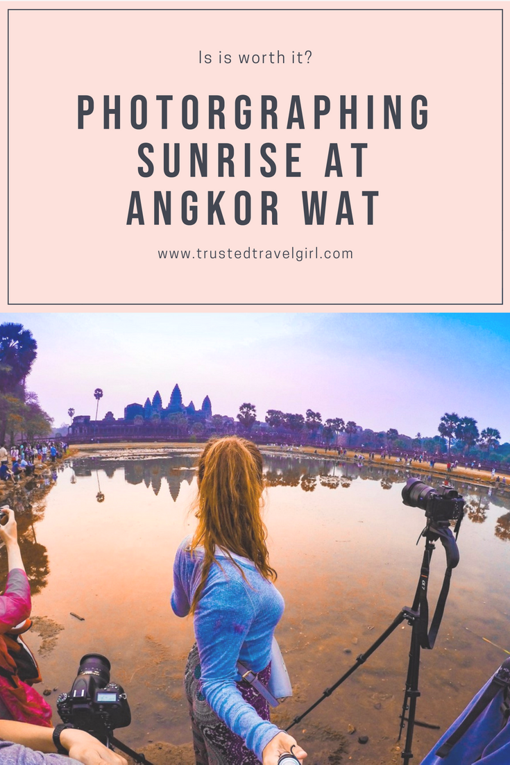 If you want a magnificent photo of Angkor Wat at sunrise, you have to come check out this guide to taking photos at Angkor Wat in Cambodia. We will tell you all of the secrets for photographing Angkor Wat at sunrise so you can have a spectacular photo of your own! Come check out how we did and make sure you save this to your trave board so you can find it before your trip. #angkorwat #siemreap #cambodia
