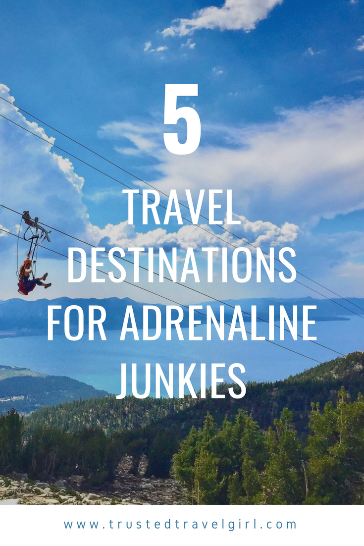Are you an adventure traveler? If so, you have to check out these amazing bucket list adventures for adrenaline junkies. We will tell you what 5 adventure travel activities make my heart race! Don't forget to save these to your travel board so you can find it later. #bucketlist #adventuretravel #adrenalinejunkies