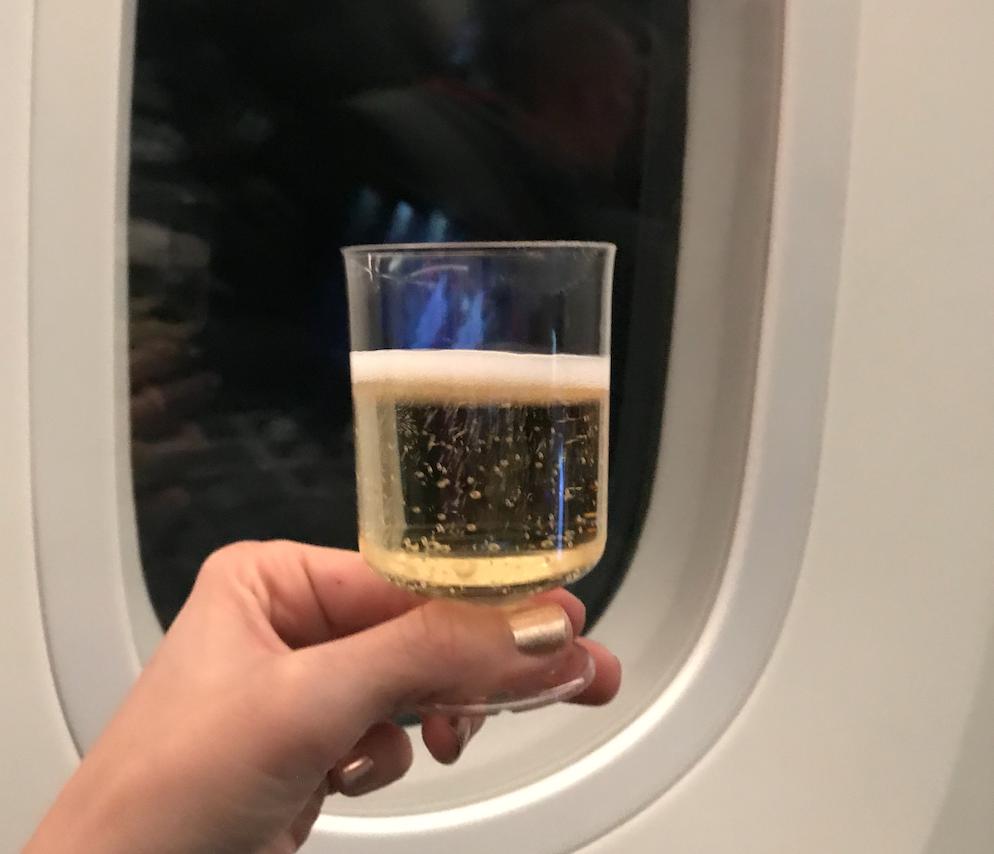Norwegian Air premium cabin champagne review
