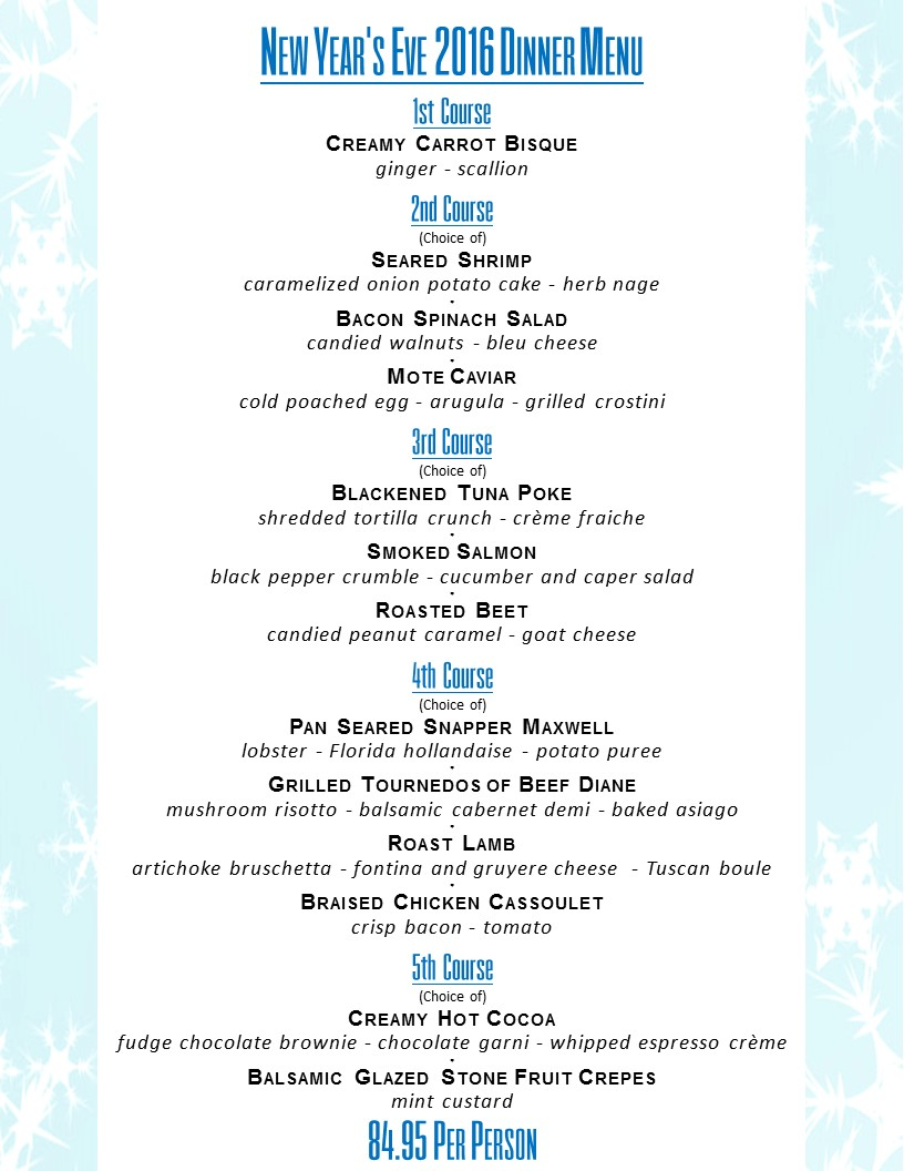 CLICK HERE TO DOWNLOAD DUVAL'S NEW YEARS EVE MENU    |    CLICK HERE TO DOWNLOAD THE NEW YEARS EVE DRINK AND WINE FEATURES