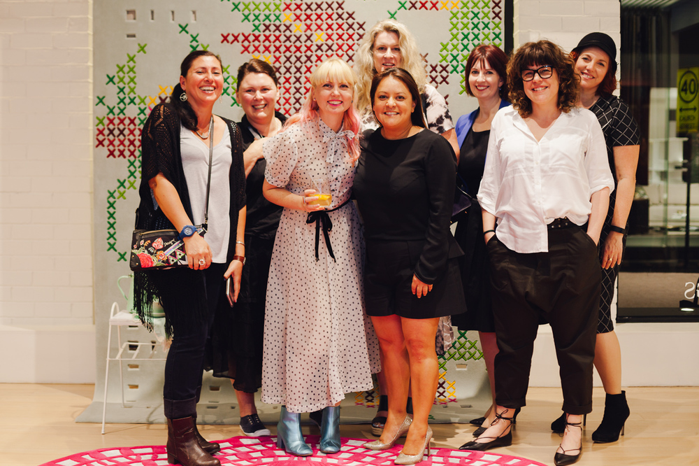 Felicia Bonacci, Paula Fitzpatrick, Petrina Turner, Rebecca Jansma, Monica Del Rosario, Felicity Cull, Dara Shashoua, Jacky Clark | NEW AGAIN by Petrina Turner Design for Designer Rugs | The launch event