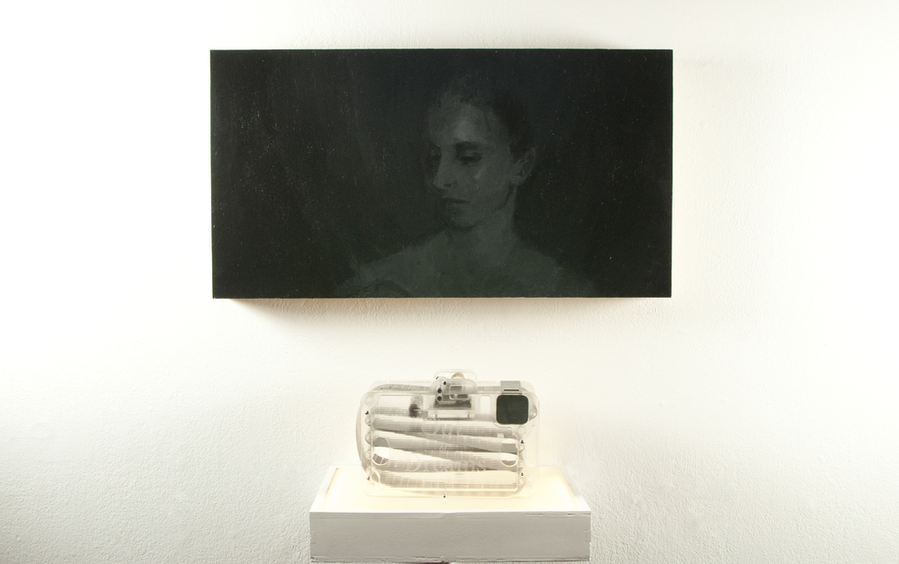 A  bove:  Genessa Kealoha,  Out of Dreams No. 5,  2012, acrylic on wood panel, 12 X 21 inches   B  elow:  Jonathan Odom,  Out of Dreams No. 5, Memorette Cassette,  2013, laser cut acrylic, music box, contact microphone, and inkjet printed film,  5  ½ x 8 x 3¼ inches