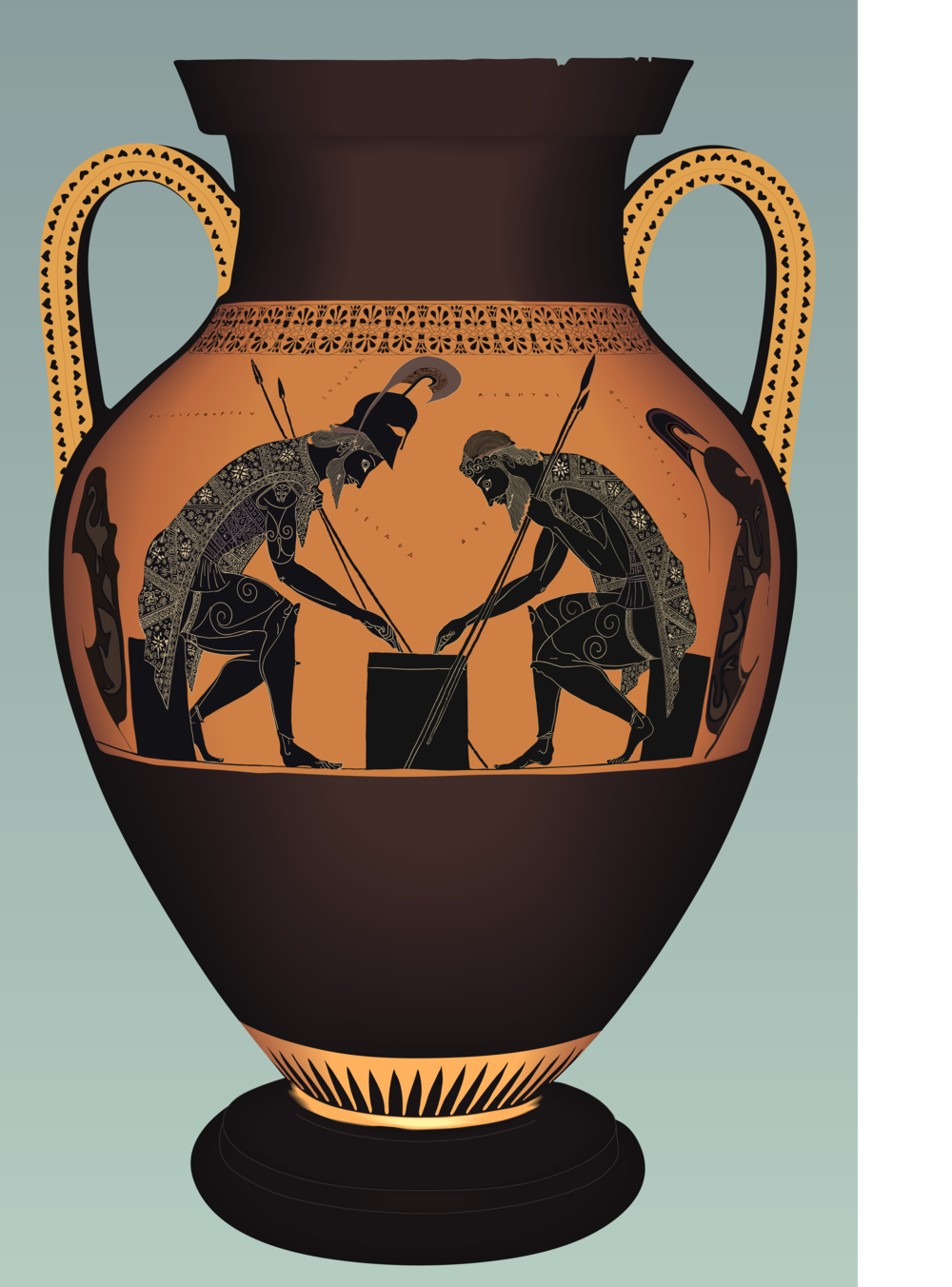 Ajax and Achilles Playing Dice, Greek Amphora