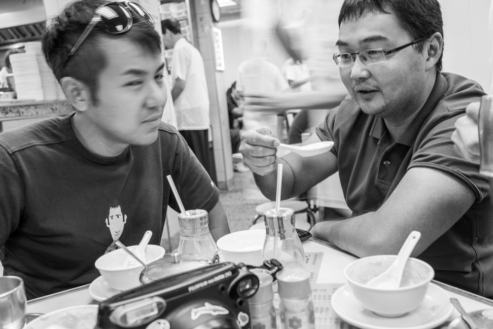 Mad Dog Mark (right). If he's not a Hong Kong legend I don't know who is. Here we are at the Australian Dairy for custard, a bizarre Asian desert café he took us to where the waiters run at 2.5x regular speed. There was nothing Australian about it