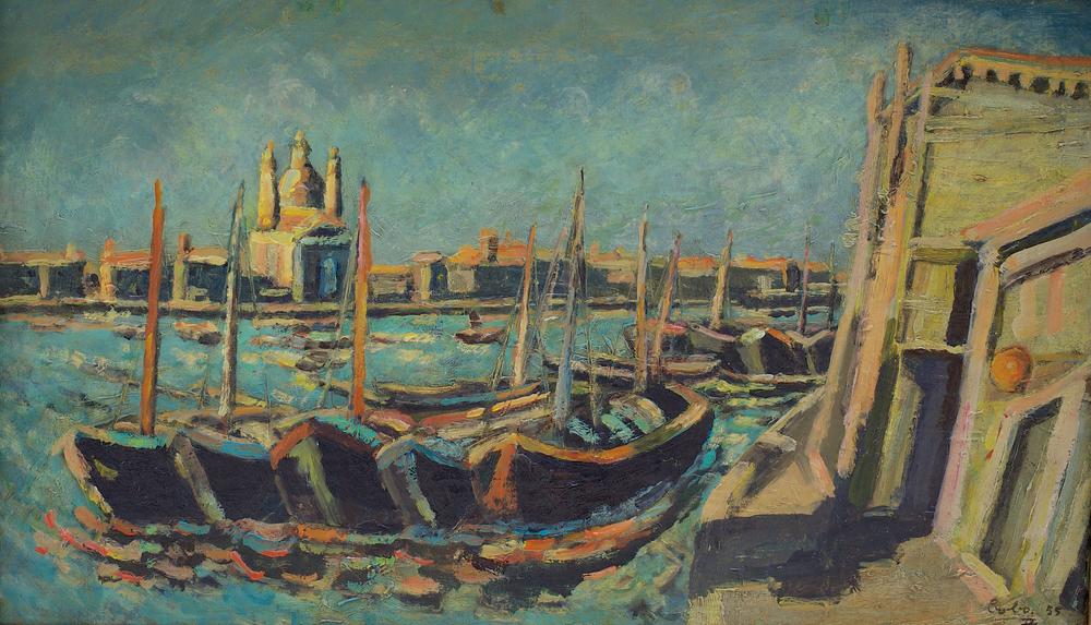 Burci alla Salute con Redentore, oil on canvas, 68x40 cm, 1955. Write to info@robertoferruzzi.comfor a quotation.