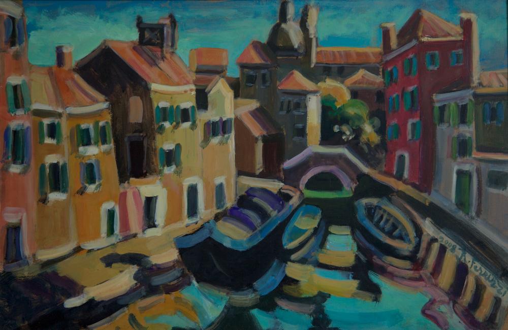 Rio Ognissanti (San Trovaso), oil on canvas,50x70 cm, 2008. Write to info@robertoferruzzi.comfor a quotation.