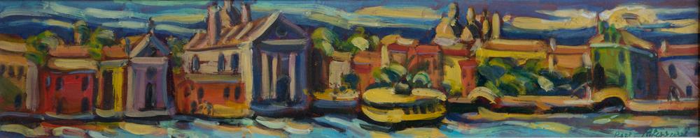 Zattere con Gesuati e Vaporetto, oil on canvas,25x120 cm, 2007. Write to info@robertoferruzzi.comfor a quotation.