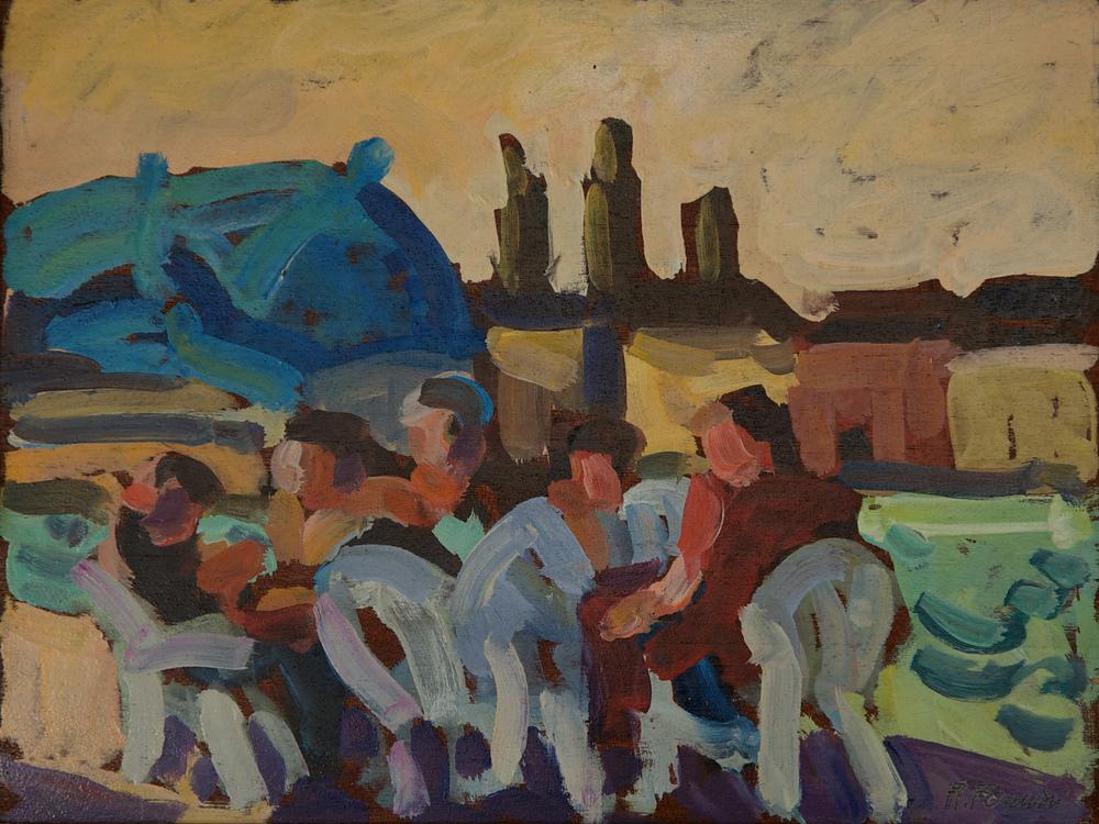 """Caffè della """"Palanca"""" Giudecca, oil on mahogany,40x30 cm, 1998. Write toinfo@robertoferruzzi.comfor a quotation."""