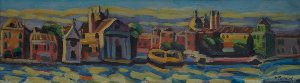 Zattere ai Gesuati e Vaporetto, oil on canvas,40x140 cm, 2007. Write toinfo@robertoferruzzi.comfor a quotation.