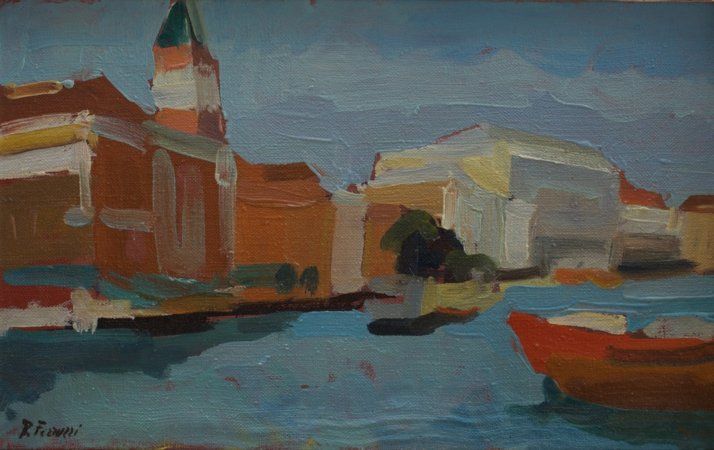 San Marco e Palazzo Ducale , oil on wood, 41x25 cm, from the 60s.  Write to    info@robertoferruzzi.com    for a quotation.