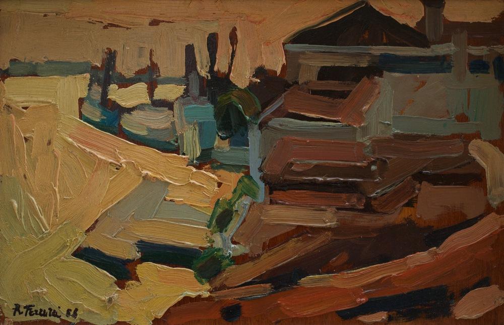 Il canale della Giudecca dalle Zattere, oil on wood, 40x26.5 cm, 1968. Write to info@robertoferruzzi.comfor a quotation.
