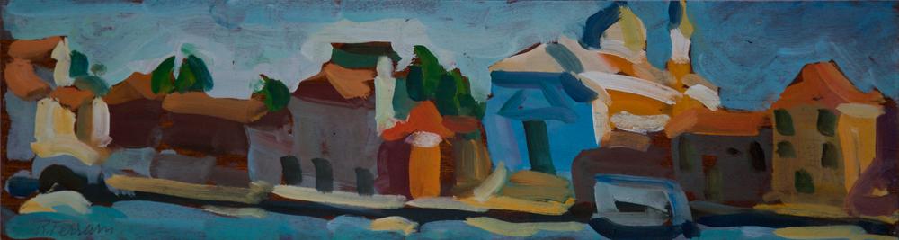 Canale della Giudecca, Redentore, oil on wood, 16.5x60 cm, 1985. Write to info@robertoferruzzi.comfor a quotation.