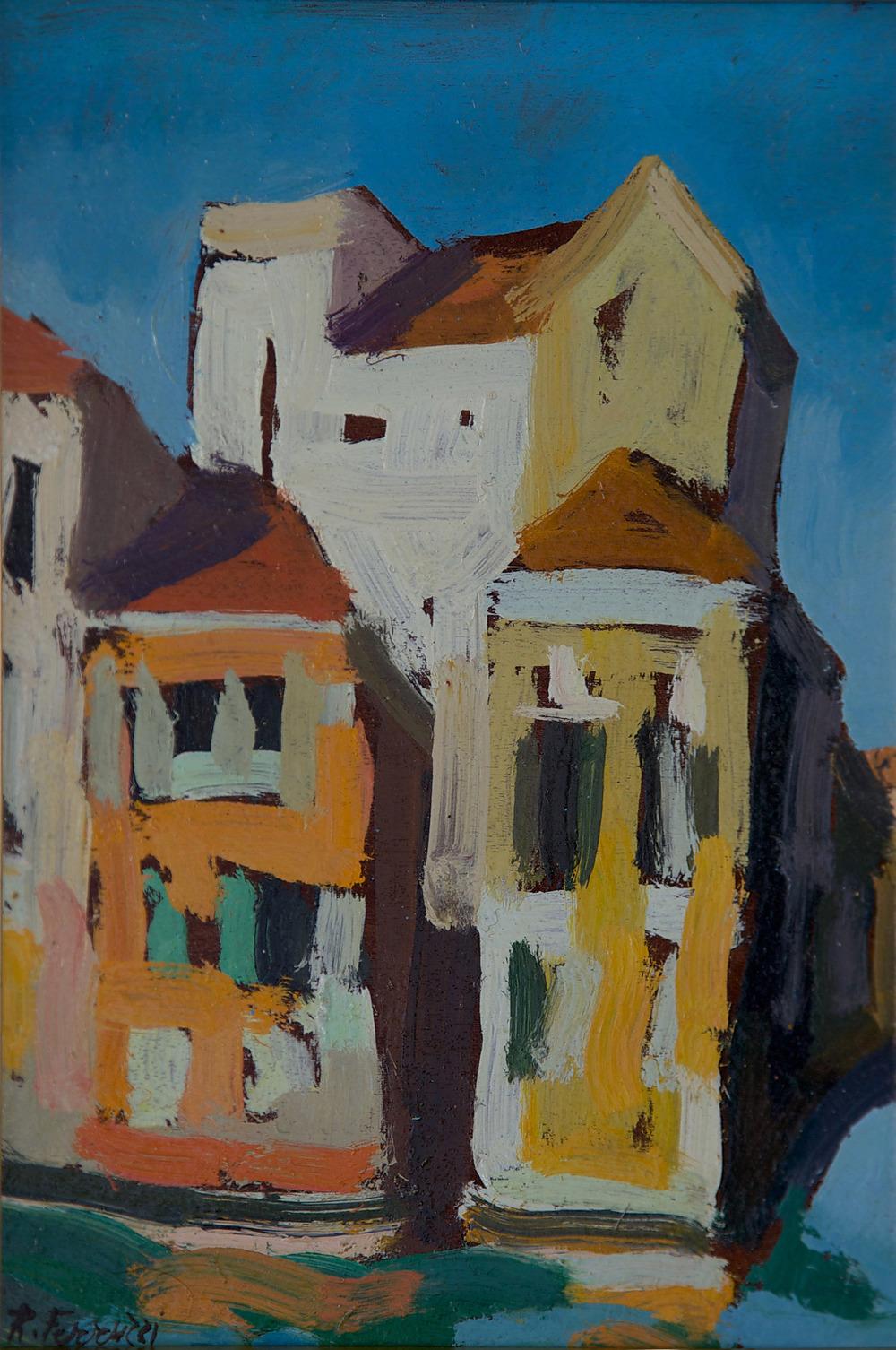 Palazzo in Canal Grande da S.Vio, oil on wood, 22.5x30 cm, 1979. Write to info@robertoferruzzi.comfor a quotation.