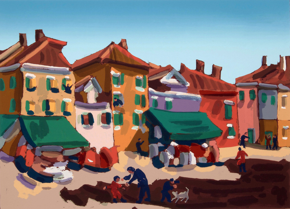 Burano, Piazza Galuppi, 70x50 cm. Write to info@robertoferruzzi.com for a quotation.