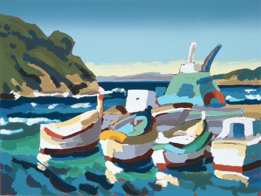 Barche all'isola di Port Cros, 70x 50cm. Write toinfo@robertoferruzzi.comfor a quotation.