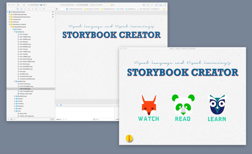 VL2 Storybook Creator on Xcode and the placeholder app running on Simulator. This is what you see on your desktop!