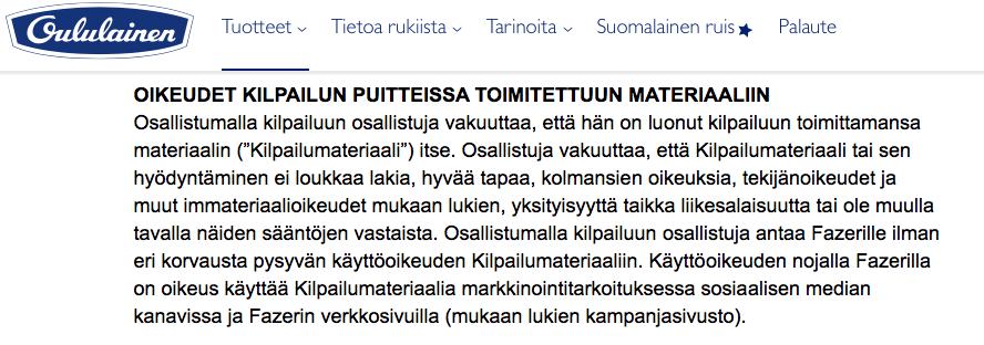 Kuvakaappaus kilpailun Säännöt-sivuilta (http://www.oululainen.fi/tuotteet/reilu/reilu-futiskesa/saannot/)