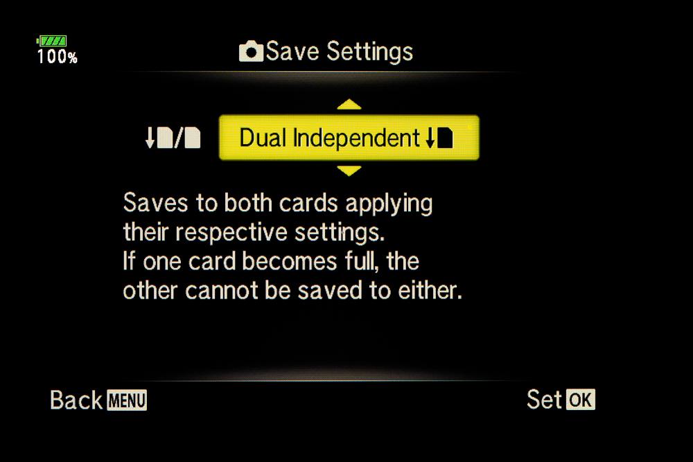 Tässä asetuksessa toisen kortin täyttyessä kumpaankaan ei voi tallentaa.