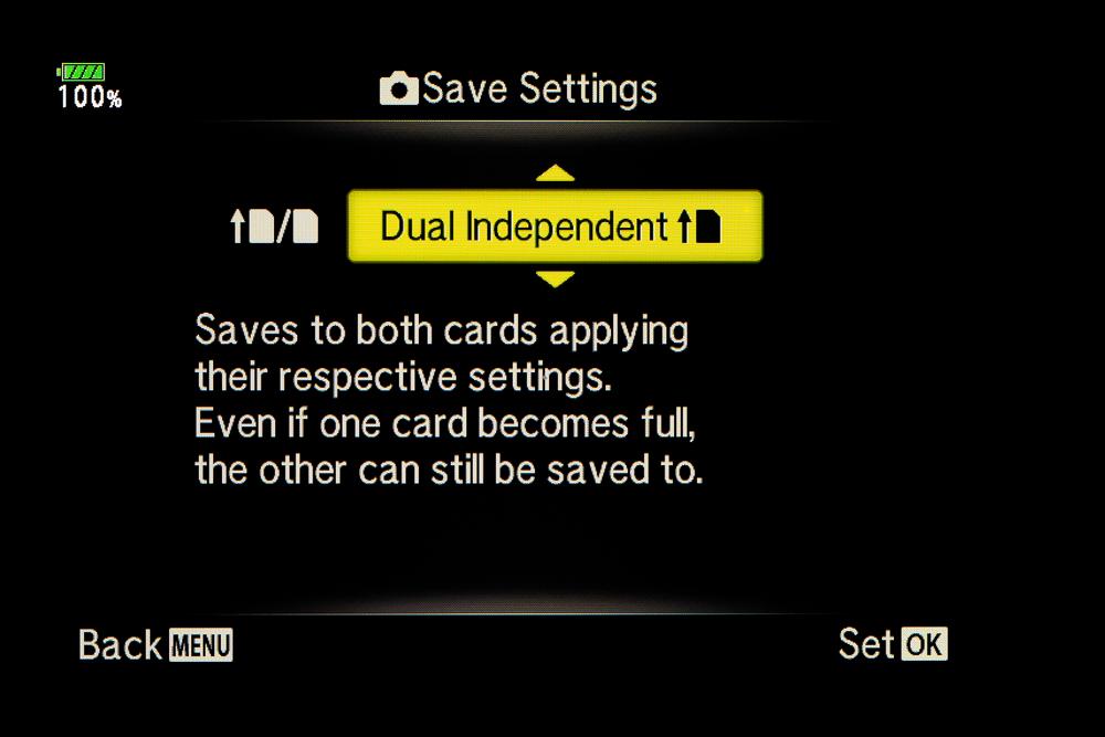 Tämä asetus mahdollistaa kuvien tallentamisen, vaikka toinen kortti täyttyisi.