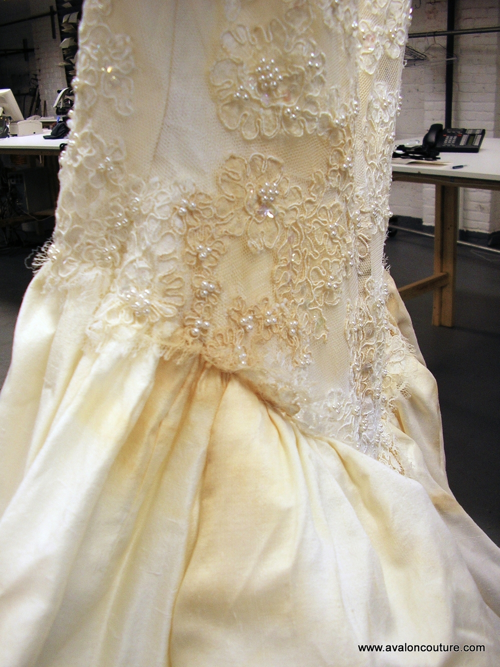 "Wedding Gown Bustle ""Before"""