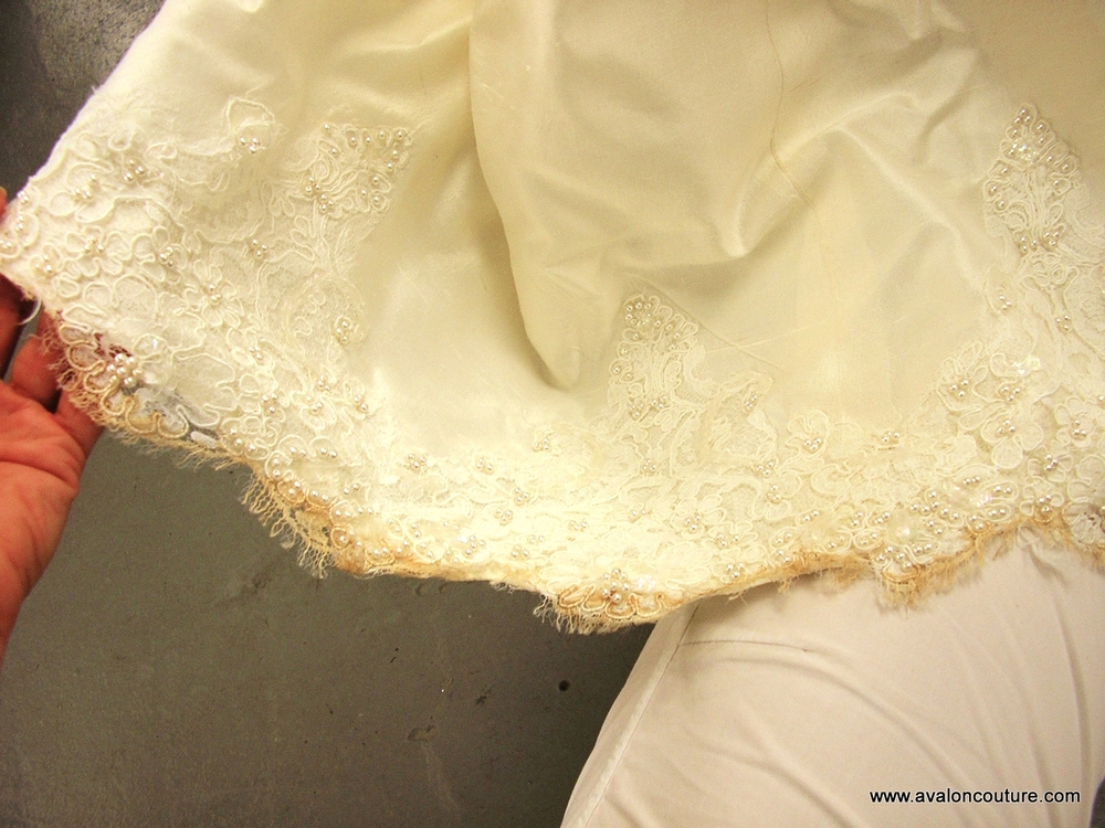 "Wedding Gown Hem ""Before"""