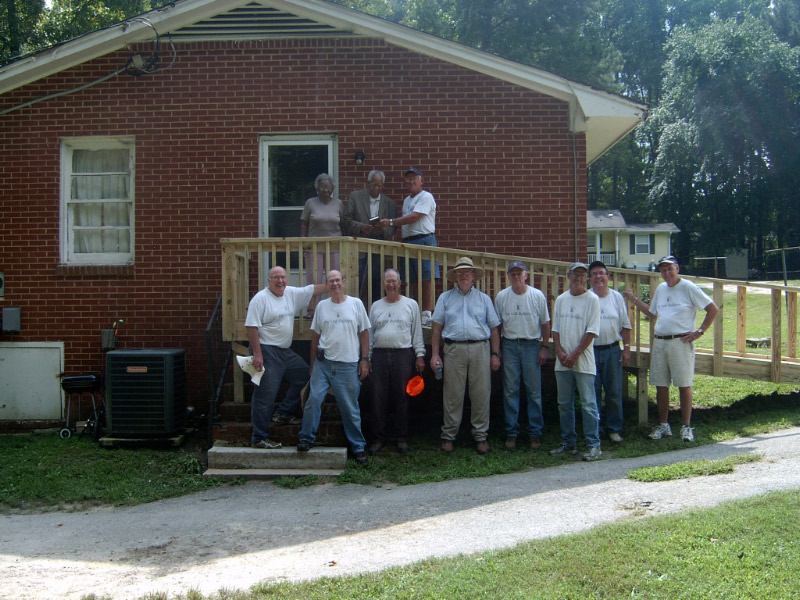 A ramp was built for an 80 year old man who lives near Knightdale who has just come home from the hospital. He uses a walker and cane and had great difficulty going up steps. He and his wife are faithful members of Brassfield Baptist Church in Zebulon. We gave them a Bible as we usually do when we build a ramp. They were so happy to have received this ramp and we were blessed to have built it for them.