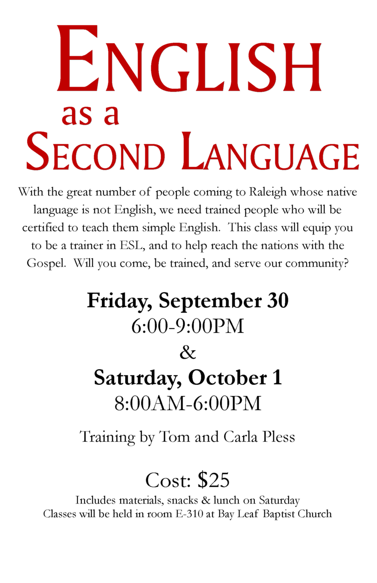English as a second language go pray give to register email christina at cschooleybayleaf or call the church office 1betcityfo Image collections