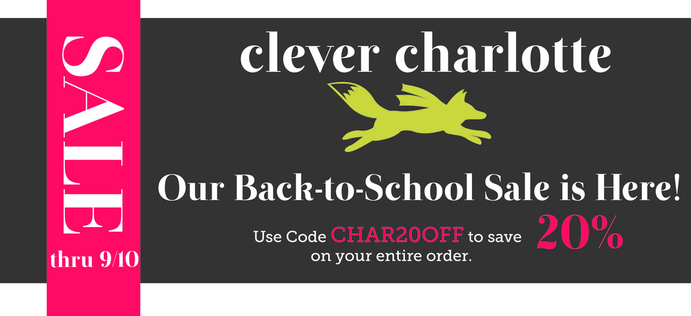 The kids are soon back in school and you will have plenty of time to get back to your sewing table. Join us in celebrating by picking up a new Clever Charlotte pattern or two!