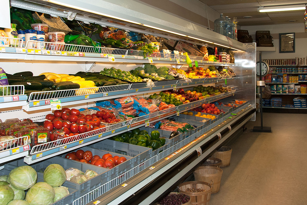 Fresh fruits and vegetables with full variety on seasonal items