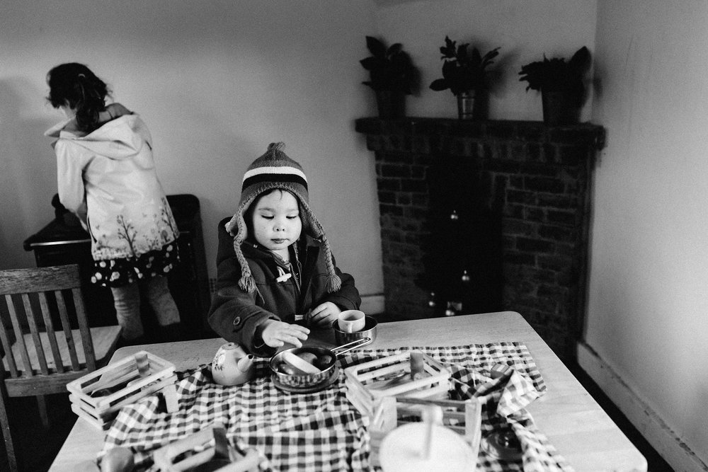 Children playing in the kitchen in the Marycot at Charwell House - children photography