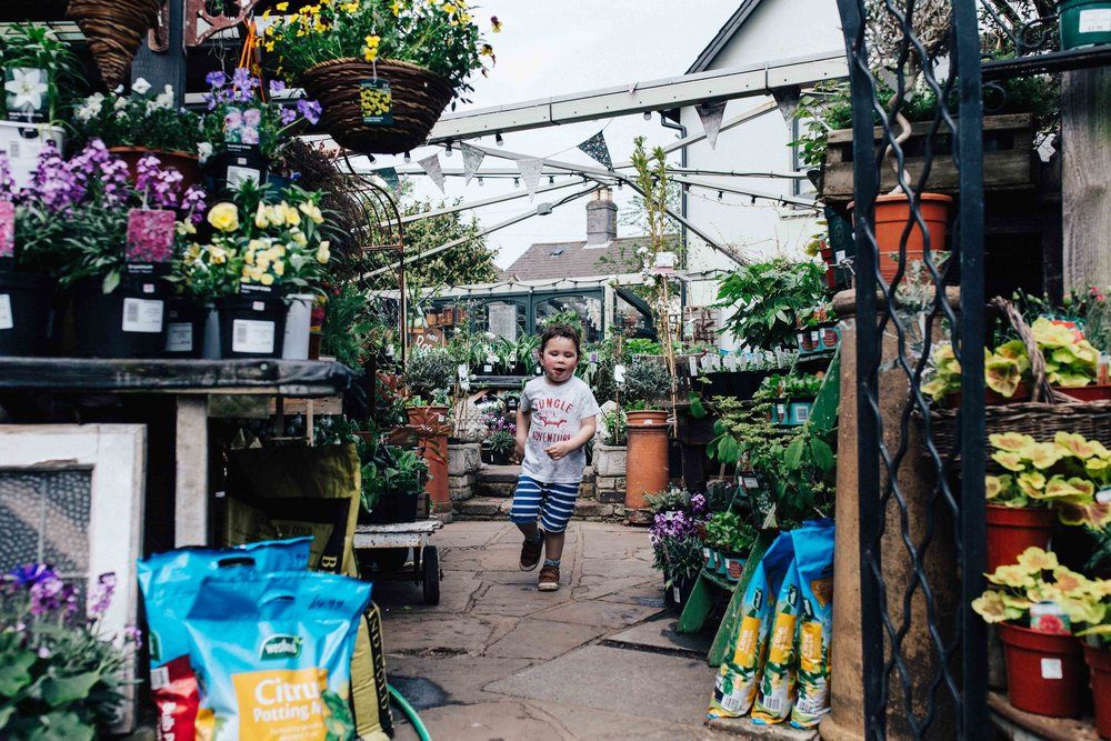 Little boy running through Alexandra Nurseries, Penge, South East London during children photography session