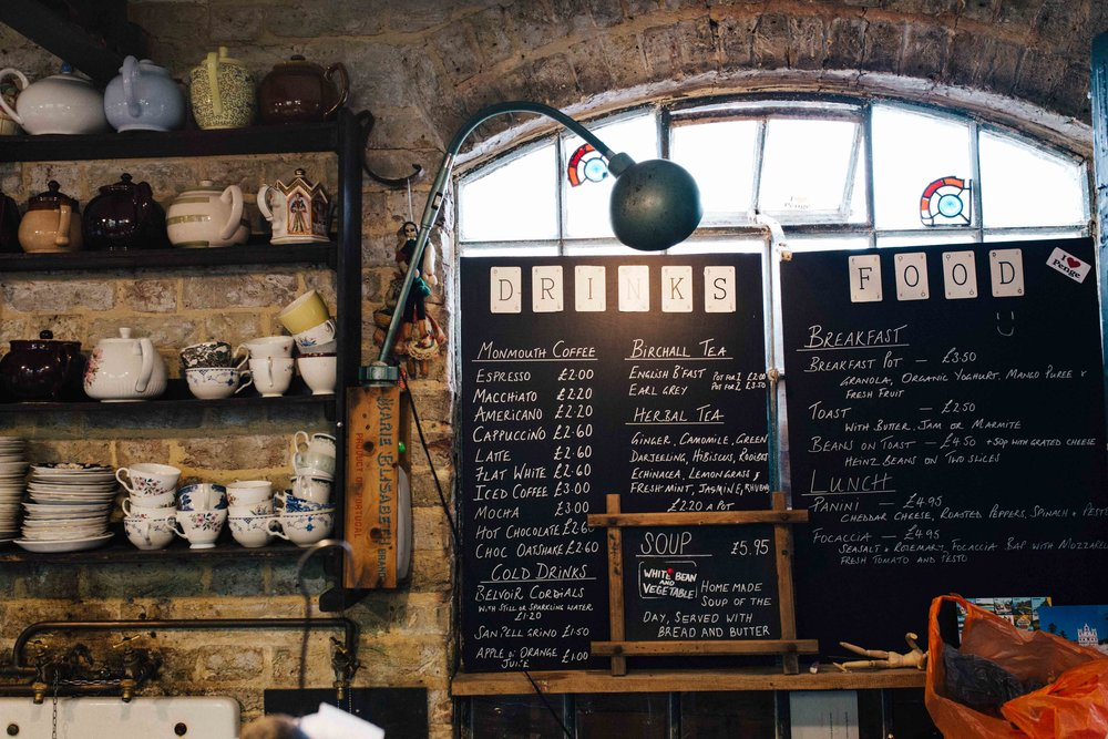 Food menu board at Alexandra Nurseries, Penge, South East London