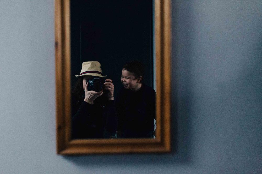 Autoportrait of photographer Marion Pelletant with son