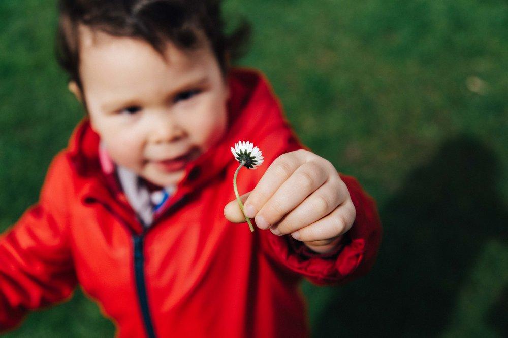 Boy giving flower