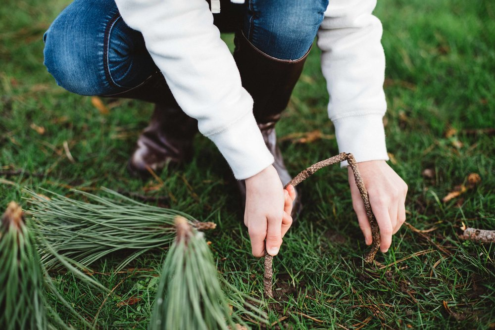 Hands of child with plants in Cator Park during family photography session in Beckenham