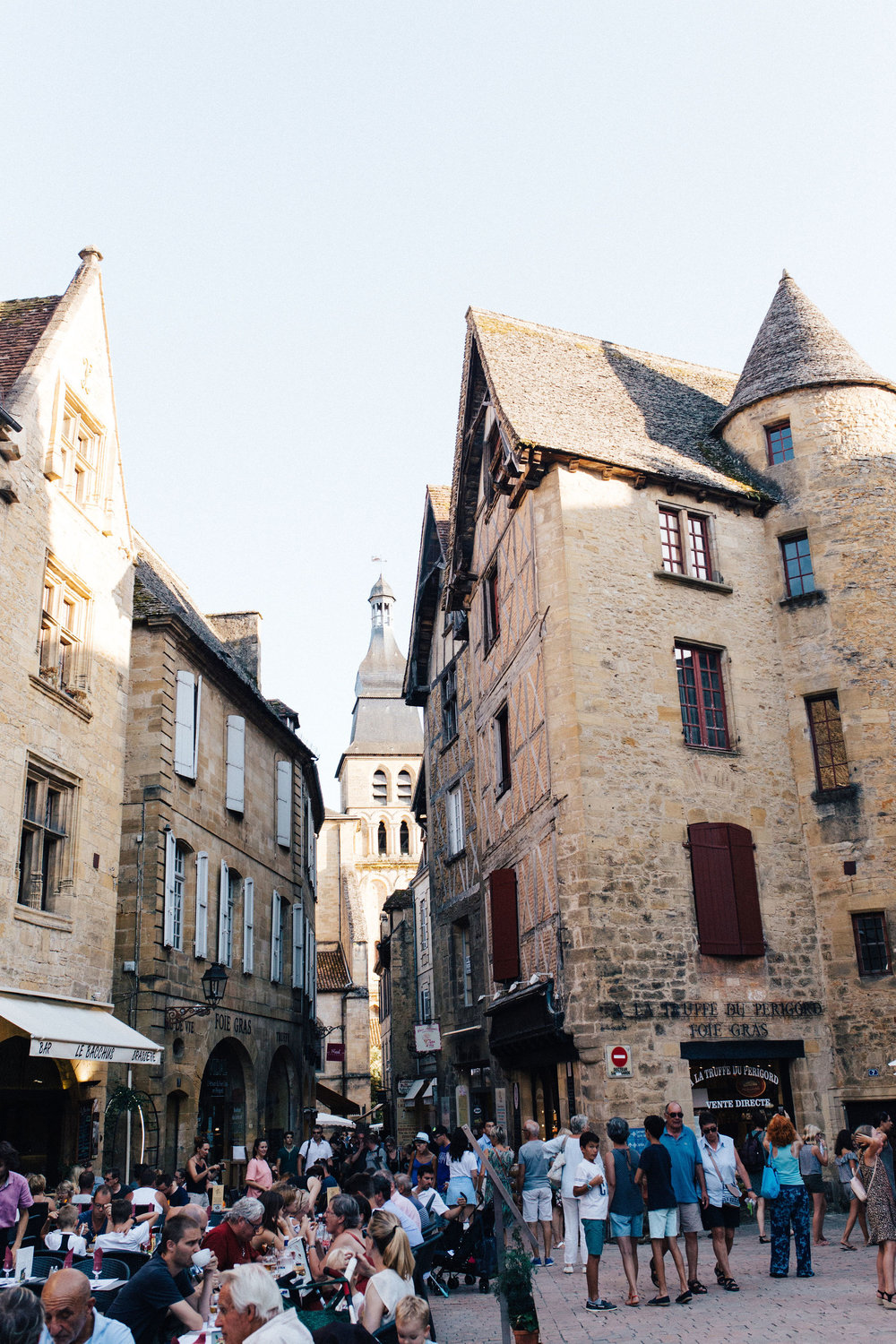 Centre of French town of Sarlat in the summer