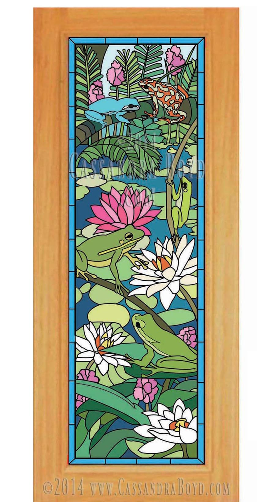 Frog & Lotus Glass Door Design