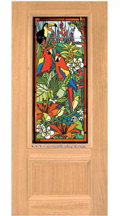 Tropical Birds Glass Door Design