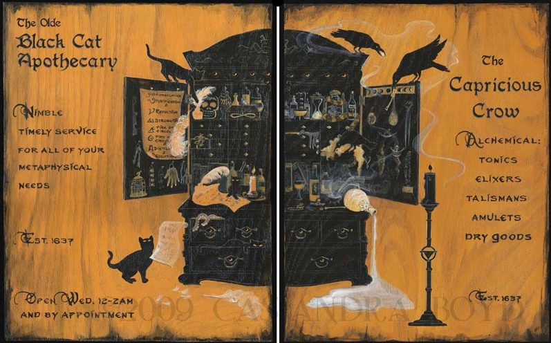 Black Cat & Capricious Crow Wall Art
