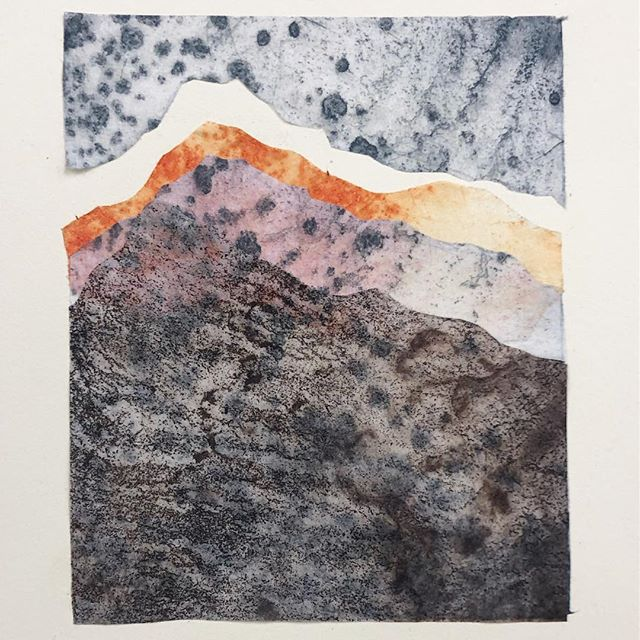 A little collage. . . . #collage #monoprint #etching #landscape #takemeback