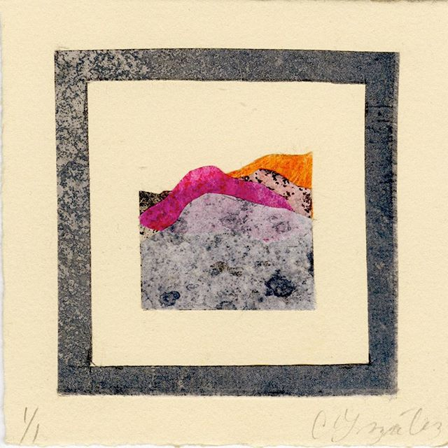 I don't have this little guy anymore but I still like them. . . . #collage #coloretching #texture #square #monoprint